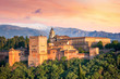 Leinwanddruck Bild - Ancient arabic fortress Alhambra at the beautiful evening