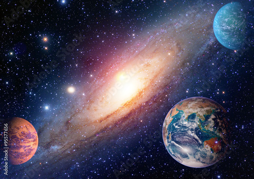 Poster Astrology astronomy earth outer space solar system mars planet milky way galaxy. Elements of this image furnished by NASA.