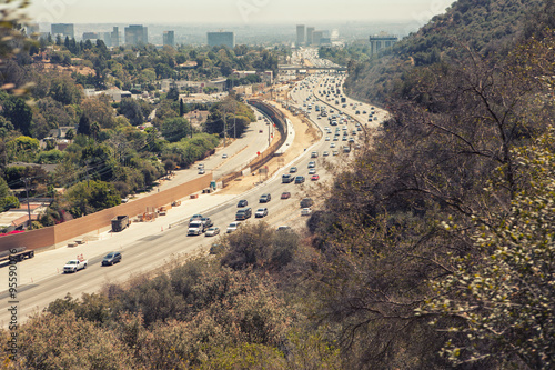 Plakat Aerial  view of Los Angeles 405 San Diego Freeway from Getty Cen