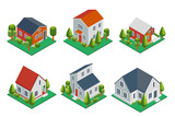 Fototapety Isometric 3d private house, rural buildings and cottages icons set