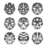 Lucha libre, mexican wrestling masks icons set