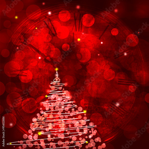 Red Christmas background with Christmas tree and empty space for