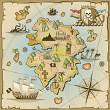 Fototapety Pirate treasure island vector map