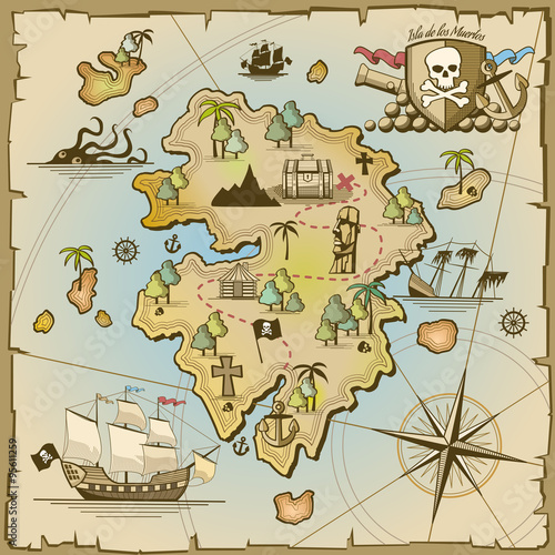 Fototapeta Pirate treasure island vector map