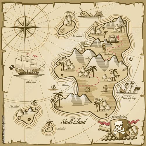 Fototapeta Treasure island vector map in hand drawn style