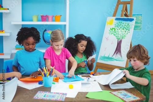 Happy kids doing arts and crafts together quot stock photo and royalty