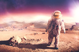 Fototapety Astronaut walking on an unexplored planet