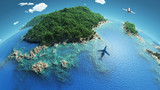 aircraft flies over a tropical islands