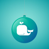 Long shadow vector christmas ball icon with a whale