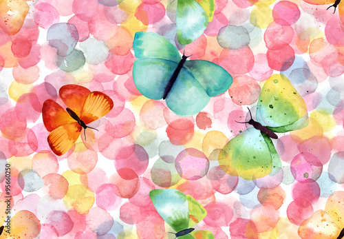Materiał do szycia Bright abstract seamless pattern with multicolored watercolor dots and butterflies
