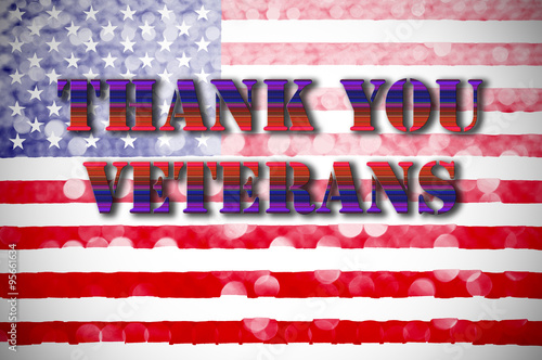 Poster thank you greeting card american flag background