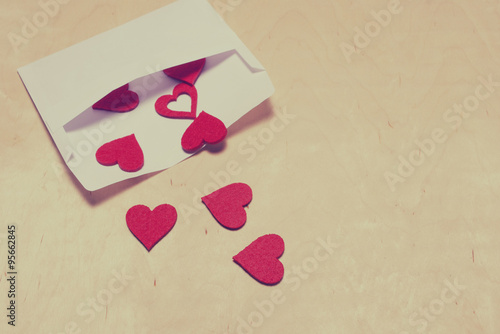 Hearts in envelope, filtered photo