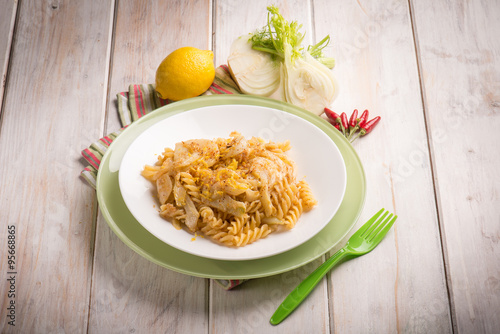 "fusilli with fennel grated lemon peel and hot chili pepper"" Stock ..."
