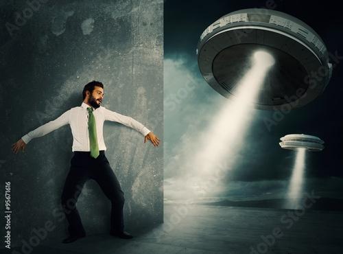 Foto op Canvas UFO Frightened by UFO