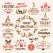 Christmas decoration icons, labels, illustration and elements set.