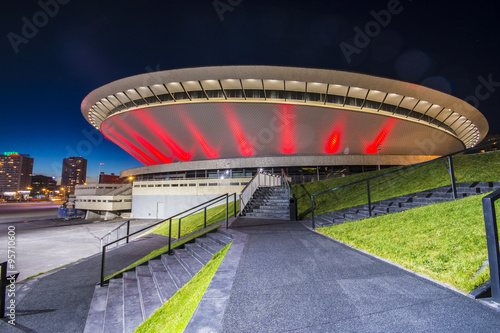 Fototapety, obrazy : Night view of the International Conferrence Centre in Katowice, Silesia