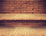 wooden floor and shelves on old brick wall texture for background
