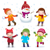 Fototapety Collection of kids with snowman in winter costume