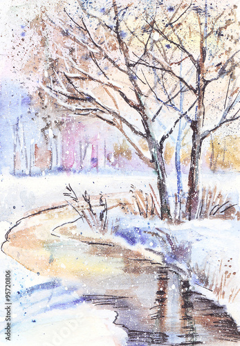 Obraz Watercolor painting: winter landscape with frozen trees