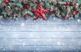 Christmas Greeting Card - Fir Branch And Decoration On Snowy Plank  - Fine Art prints