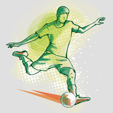 Illustration of a soccer player ready to kick the ball