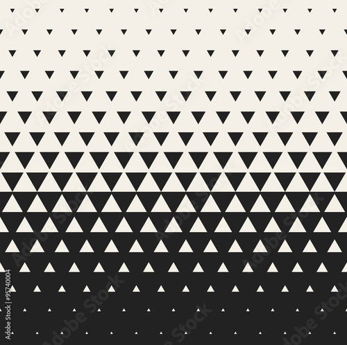 Wall mural Vector Seamless Black and White Morphing Triangle Halftone Grid Gradient Pattern Geometric Background