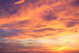 Fantastic background of real sundown sky, colorful natural