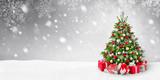 Fototapety Weihnachtsbaum und Schnee Hintergrund