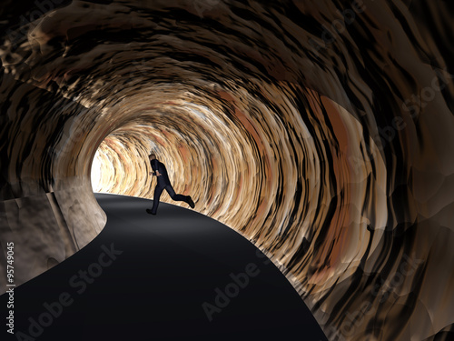 In de dag Tunnel Conceptual 3D business man, road tunnel with light at the end