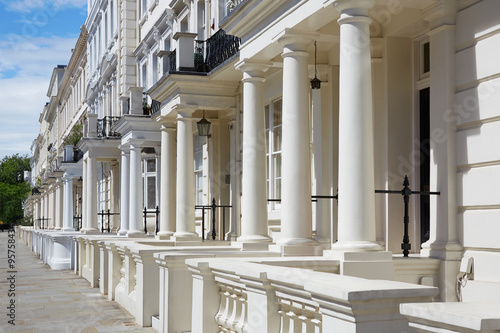 White, english luxury houses facades in London Poster