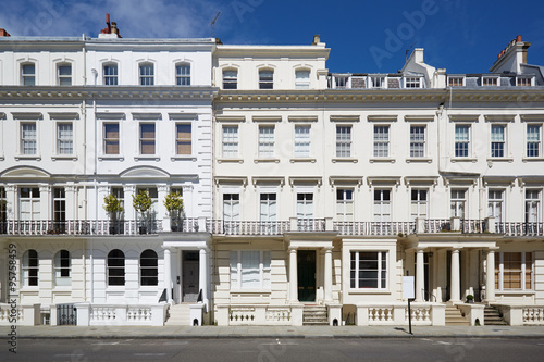 White luxury houses facades in London, Kensington and Chelsea Poster
