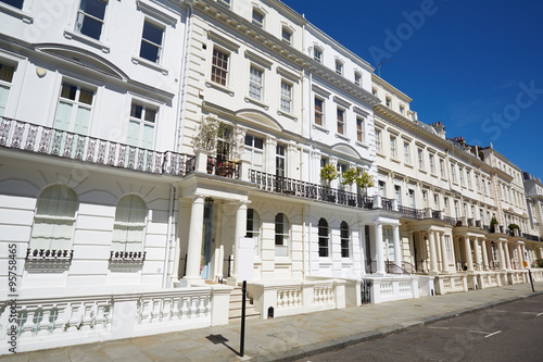 White luxury houses facades in London, Notting hill Poster