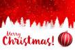 Detaily fotografie veselé vánoce červené pozadí s bílým sněhem silueta a ornament