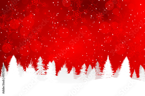 Red Christmas Background with Snowy Hills