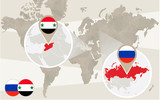 World map zoom on Syria, Russia