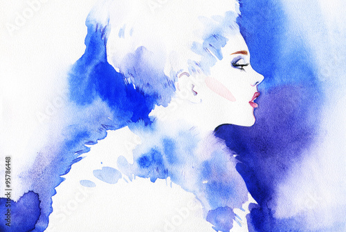 woman portrait, abstract watercolor .fashion background - 95786448