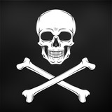 Human evil skull vector. Jolly Roger with crossbones logo template. death t-shirt design. Pirate insignia concept. Poison icon illustration on black background