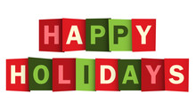 HAPPY HOLIDAYS overlapping vector letters (Christmas colours)