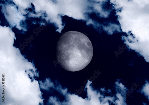 Foto op Canvas The moon in the night sky