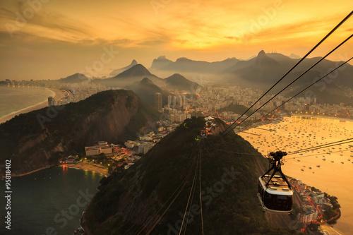 Plakat Night view of Copacabana beach, Urca and Botafogo in Rio de Jane