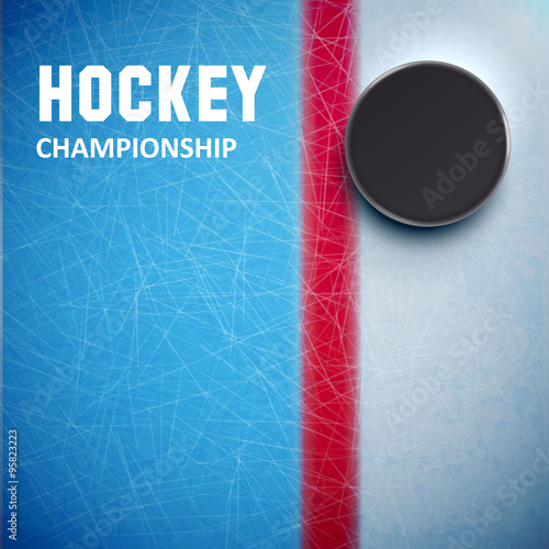 mata magnetyczna Hockey puck isolated on ice top view