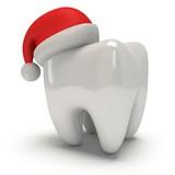 Fototapety Tooth Wearing Santa Claus Hat