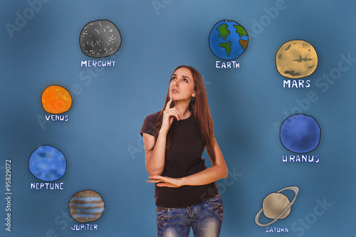 Plakat woman hand holding chin and looking up wondering planets of the