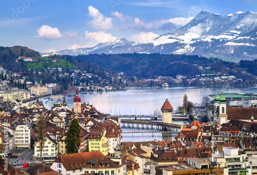 Lucerne, Switzerland, aerial view of the old town, lake and Rigi mountain Poster