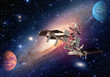 Satellite solar system space shuttle station spaceship planet interstellar galaxy. Elements of this image furnished by NASA.