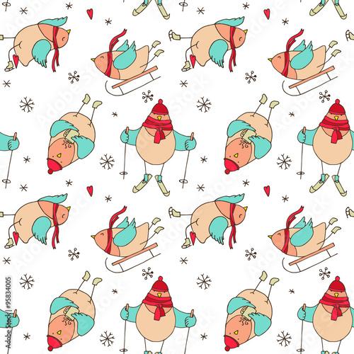 Cotton fabric Christmas birds - vector seamless pattern