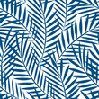 Tropical blue palm tree leaves in a seamless pattern