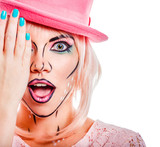 Girl in a pink hat in a pop art style.