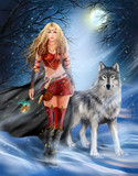 Fantasy Winter Warrior Princess and wolf