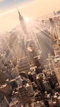 Нью-Йорк Манхэттена горизонты в закат.